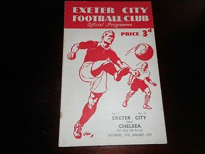 EXETER CITY  v  CHELSEA  1950/1  F A CUP 4th ROUND ~ JANUARY 27  RARE  FREE POST