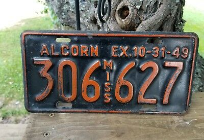 1948-1949  Alcorn County Mississippi  License Plate #306  627  Original Paint