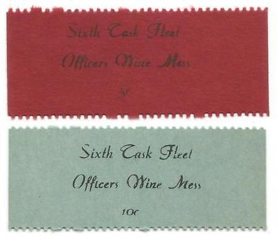 1946-50 OFFICERS WINE MESS Good For 5 & 10¢ Chits SIXTH TASK FLEET Mediterranean
