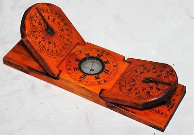 Antique Chinese Feng Shui Geomancy I Ching Compass Double Sundial
