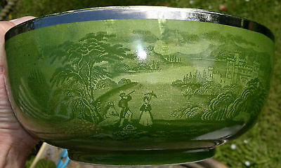 "Rare Royal Staffordshire ""Jenny Lind""Ground Green Bowl,Silver Gilt Rim 9.5""Diam'"
