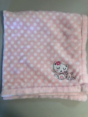 """Absorba Pink Cat Mouse White Polka Dot Thick Plush Baby Blanket 30""""X30"""" VGUC"""