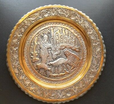 Middle East Persian Charger Antique Plate Copper-Brass-Silver 11 inches
