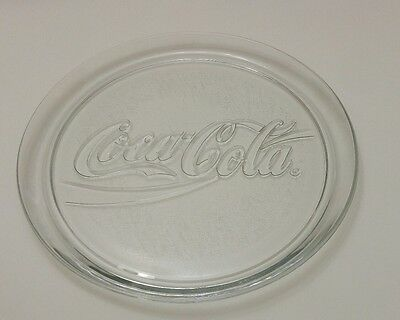 """Clear Glass Coca Cola 13"""" Platter from 1990 COKE Plate Serving Tray Indiana Gla"""