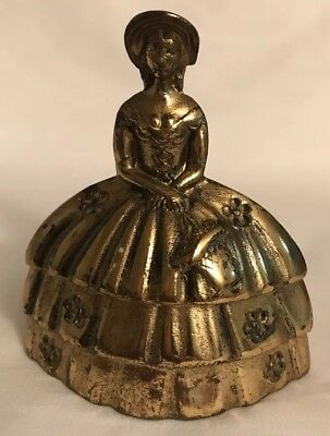 "Small 3.75"" Antique Victorian Lady Solid Brass Bell England"