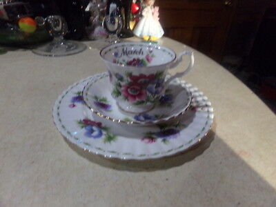 Royal Albert Bone China March Flower Of The Month Anemones Plate, Cup, & Saucer