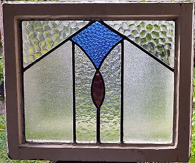 Antique Leaded English Stained Glass Window Wood Frame England Old House 17