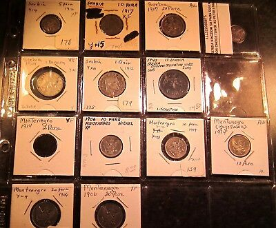 Montenegro, Romania, Serbia, and Yugoslavia Coins - 29 Coins in Total