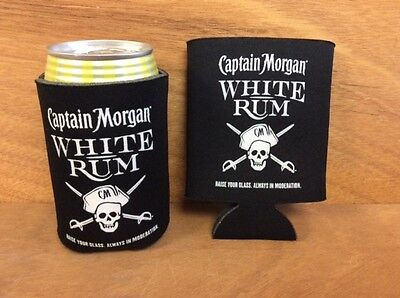 Captain Morgan White Rum Beer Koozies Can Cooler Coozie  TWO (2) NEW & Free Ship
