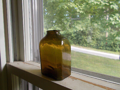 OPEN PONTIL EARLY 1840s DIP MOLD BLOWN OLIVE AMBER SNUFF BOTTLE NEW ENGLAND
