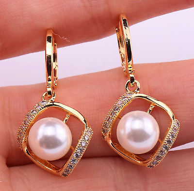 18K Gold Filled - Hollow Square Pearl Topaz Zircon Party Hoop Lady Earrings