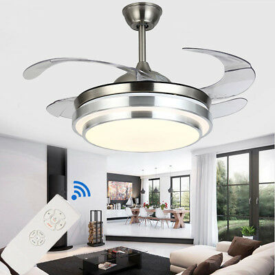 36'' Modern LED Light Ceiling Fixtures Lamp Retractable Blade Fan Remote Control