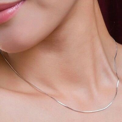 14k White Gold Over 925 Sterling Silver Thin Italian Round Snake Chain Necklace