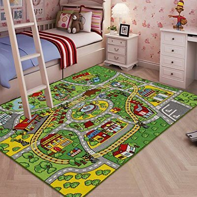 "Large Kid Rug Toy Cars roads street Carpet 52""x 74"" Car Play area Mat"