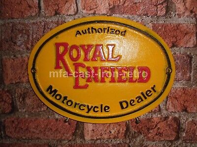 Cast Iron Oval Authorized Royal Enfield Wall Plaque
