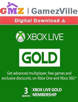 Xbox Live 3 Month Gold Membership Card Microsoft Xbox ONE X 360 Key Code