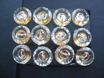 13mm Small Designer Gold Clear Faceted Stylish Sewing Buttons Set  of 12
