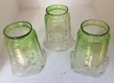 Rare Set Of 3 Art Nouveau, Arts & Crafts Small Antique Glass Gas Lamp Shades