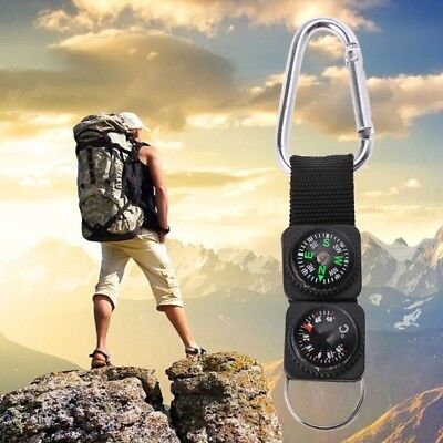 Outdoor Sport Keychain Travel Carabiner Hiking Compass Thermometer Survival Tool