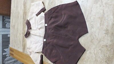 Vintage Old Children's Boys Romper Suit Top And Shorts Beige & Brown Museum Prop