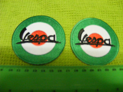 VESPA...lot of 2  motor scooter iron-on embroidered patches.
