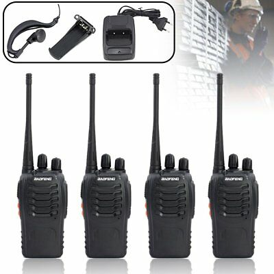 4x Baofeng Hand-Funkgerät Walkie Talkie UHF Dual band 400-470MHz Headset BF-888s