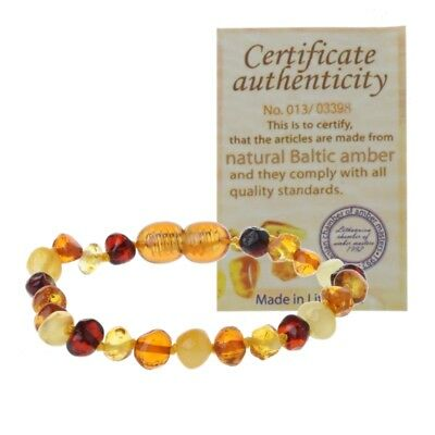 1PC Genuine Baltic Amber Bracelet Raw and Anklet Baby Beads Jewelry Mixed Color