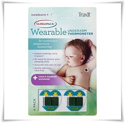 4 Pack Newborn Surgipack Wearable Traxit Disposable Underarm Thermometer