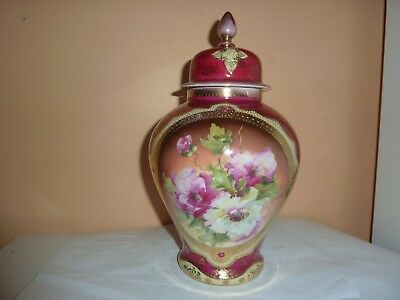 Early 20Thc Sevres 26.7Cm High Red Vase &cover With Rose/leaf  Panel &gilt Decor