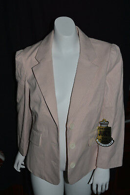 Nwt Women s Juicy Couture Designer Pink white Striped Lined Blazer Size S e1055d0df4