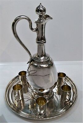 Elegant Antique Silver Russian Jug And Tray With Vodka Cups, Moscow, Circa 1890