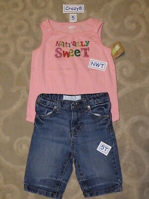 NWT Crazy 8 Girls Size 4T or 5T Butterfly Tank Top /& Pink Jean Shorts 2-PC SET