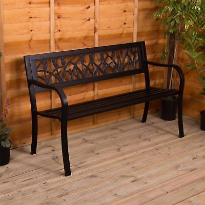 Steel Garden Bench Tulip 3 Seater Outdoor Patio Park Seating Furniture Seat