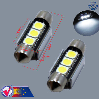 x2 BOMBILLAS 36MM 3LED SMD FESTOON C5W 5050 MATRICULA CANBUS lampara luz lamp