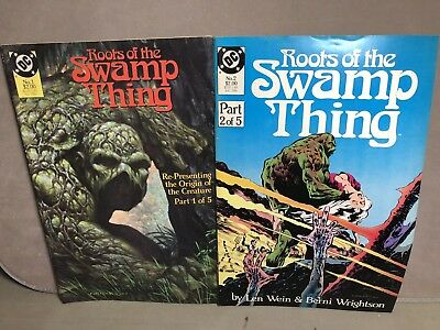 Vintage VG 1986 ROOTS OF THE SWAMP THING 1 & 2 Of 5 DC Comic Book Lot Wrightson