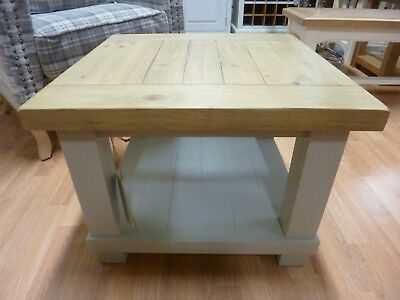 New Chunky Solid Reclaimed Wood Square Two Tier Coffee Table