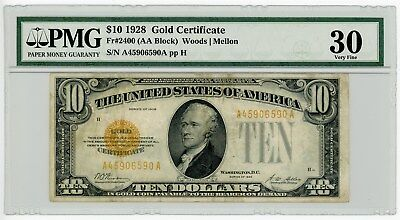 Fr. 2400 $10 1928 Ten Dollar Gold Certificate Woods/Mellon #A45906590A VF30 PMG