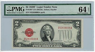Fr. 1507 $2 1928F Legal Tender Two Dollar U.S. Note #D52838609A 64 EPQ PMG