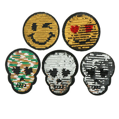 Bone Face Reversible Change color Sequins Sew On Patches For Clothes DIY HGUK