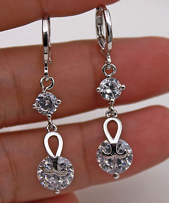 18K White Gold Filled - 1.3'' Round Swirl Topaz Zircon Wedding Dangle Earrings
