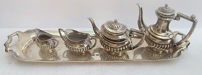 SUPERB MINIATURE ENGLISH SILVER TEA & COFFEE SERVICE WITH TRAY c.1952