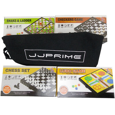 JJPRIME 4x Magnetic Travel Board Games Set Chess Ludo Snakes and Draughts games