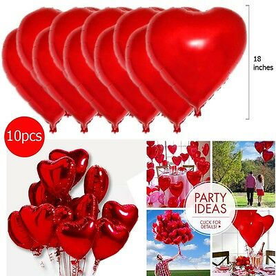 """18"""" Red Heart Foil Helium Balloons Valentine's Day Wedding Engagement Decoration"""