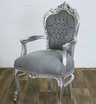 DIAMOND-LOOK BAROCK STUHL, LUXUS BAROCK SESSEL - GLAMOUR CHAIR silber-grau EDEL