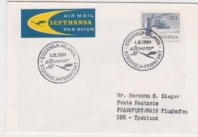 Sweden-1964 Lufthansa Boeing 727 First Flight cover Stockholm to Germany