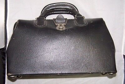 Vintage Black  Leather Dr's Medical Style Bag Satchel Purse Good Used Condition