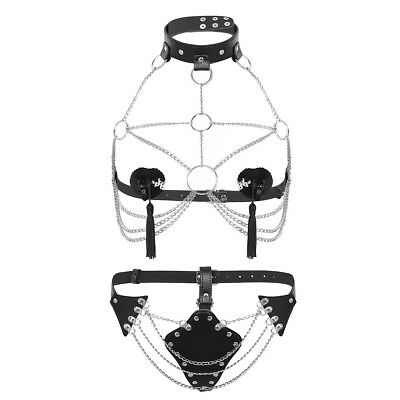 Damen Body BH Harness Kette Sets Chain Leder-harness Gürtel Bondageset Erotik