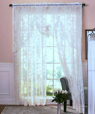 """Abbey Rose Vintage Lace Curtain WHITE or IVORY 63"""" OR 84"""" Window Panel or Swag"""