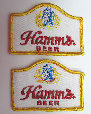 TWO Hamms Beer Patches 3 1/4 x 2 1/4 Sew On vintage Breweriana New Old Stock NOS