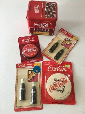 Lot of 5 NEW Coca-Cola items. Vintage Refrigerator Magnets and coasters And Tin